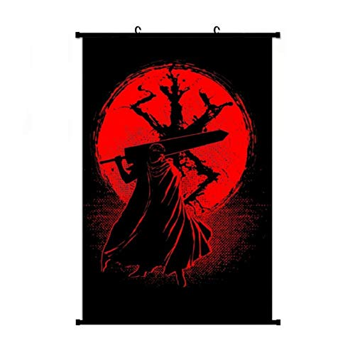 Berserk Guts Anime Living Room Bedroom Home Decoration Gift Fabric Wall Scroll Poster (24x36) Inches