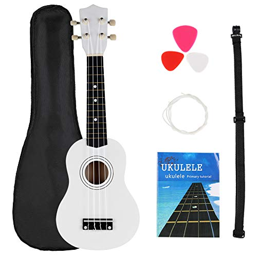 FUYXAN Soprano Ukulele Starter Kit 21 Inch Hawaiian Guitar Musical Instrument Kit with Ukulele Tuner + Strings + Pick + Strap +Carrying Bag + Booklet for Beginners Students Kids Adult, White
