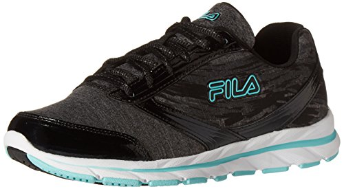 Fila Women's Memory Tempera-W Running Shoe, Black/Castlerock/Aruba Blue, 10 M US