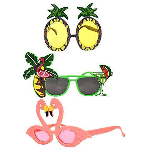 Tomaibaby Gafas de Flamenco de Hawaii Gafas de Sol Divertidas de Piña de Árbol de Coco Kit de Accesorios de Cabina de Fotos de Luau Suministros de Decoraciones