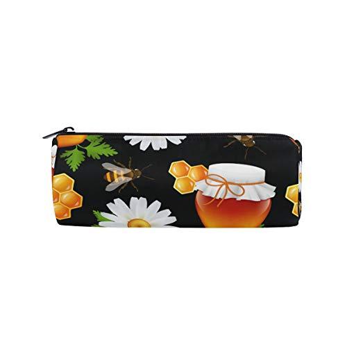 Bonipe Federmäppchen, Bienenen-Honig-Gänseblümchen-Muster, Federmäppchen mit Reißverschluss, Kosmetiktasche
