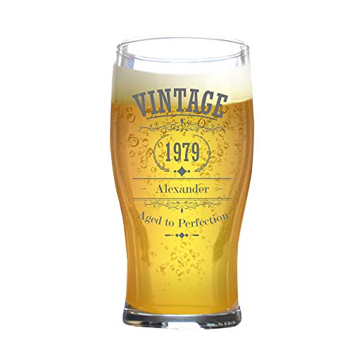 Personalised Birthday Pint Glass Engraved/Legend Year/Tulip/568 Mililiter 20 Ounces/Gift Box