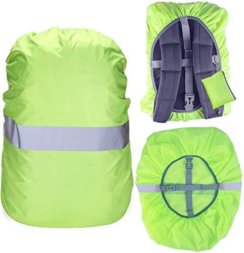 Regenschutz für Rucksack Schulranzen, 100% Wasserschutz Rucksack Cover mit Reflektorstreifen Rutschfester Kreuzschnalle, Perfekt für Camping, Wandern und Outdoor-Aktivitäten (Neon grün, 35L(30-40L))