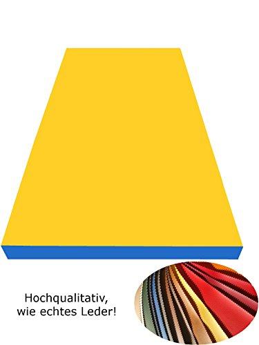 NiroSport Turnmatte 200 x 100 x 8 cm Gymnastikmatte Fitnessmatte Sportmatte Trainingsmatte Weichbodenmatte wasserdicht klappbar (Blau/Gelb)