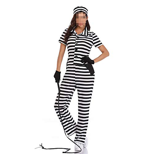 kMOoz Cosplay kostuum, halloween Outfit,kids Halloween Heks Fancy Adress Kostuum Cosplay Halloween Party, halloween Cosplay Zwart En Wit Gestreepte Jumpsuit Vrouwelijke Gevangene Kostuum