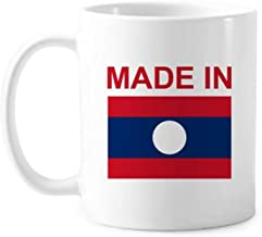 Made In Laos Country Love Classic Mug White Pottery Ceramic Cup With Handle 350ml Gift