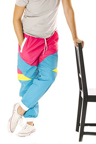 80s Style Colorful Windbreaker Pants for Men