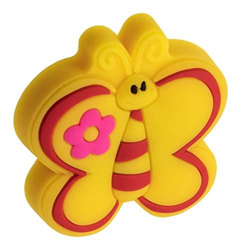 Gedotec Gummigriff Kinder-Möbelknopf Motiv Möbelgriff für Schubladen im Kinderzimmer & Möbel - Schmetterling | Gummi Speichelecht | Schubladen-Knopf elastisch | 1 Stück - Kinder-Griff für Schranktür
