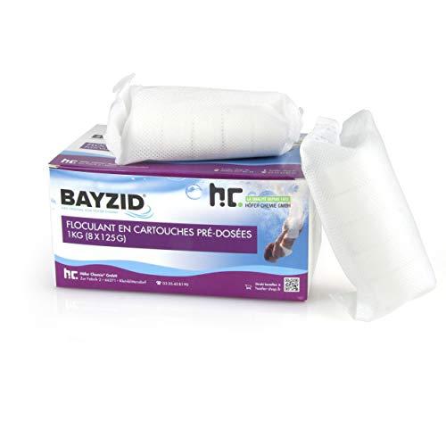 Höfer Chemie 1 kg Pool Flockungsmittel Kartuschen 8 Stück je 125g BAYZID kristallklares Poolwasser - einfache Anwendung + effektive Wirkung