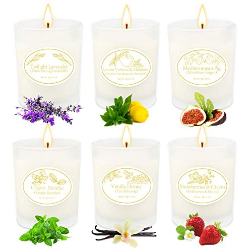6 Pack Scented Candles Gifts for Women, Soy Wax Aromatherapy Candles for Women, Long Lasting Candles Set with Gift Box Glass Scented Candles for Women Birthday Gifts for Women Friends