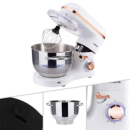 Arebos Küchenmaschine 1500W mit 6L Edelstahl-Rührschüssel, Rührbesen, Knethaken, Schlagbesen und Spritzschutz, 6 Geschwindigkeit Geräuschlos Teigmaschine, Weiß