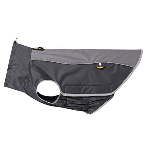 POPETPOP wasserdichte Hundejacke Hundemantel mit D-Ringe für Kleine, Mittelgroße und Großer Hunde, die zu Fuß im Freien Jagdtraining Camping (M, Schwarz)