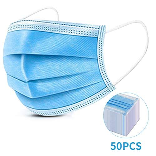 ikeepi 50 Stück Einweg Mund-Nasen-Schutz 3-lagig Staubschutz Vliesstoff Schutzfilter komfortabel (50 Stück)