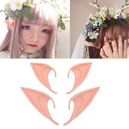 Ninevi Eastor 6 Paar Elfenohren ,Latex Ohren,Spitzohren für Halloween Erwachsene Cosplay /Anime Party /Kostüm Party ,Elfenohren Set(Zwei Größen )