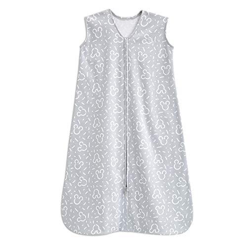 Halo Disney Baby 100% Cotton Muslin Sleepsack Swaddle Wearable Blanket, Confetti Mickey Grey, Medium, 6-12 Months