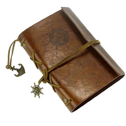 LAANCOO Piel Cuaderno de Cuero de la Nueva Vendimia del Arte de la Cubierta Diario del Diario del Cuaderno Brownfor usos múltiples al Aire Libre de Interior