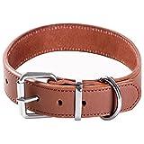 Collar de Perro Suave Grueso Extra Ancho de Cuero Genuino para Caminar y Entrenar Collar de Perro Resistente para Perros de Raza pequeña, Mediana y Grande (S)