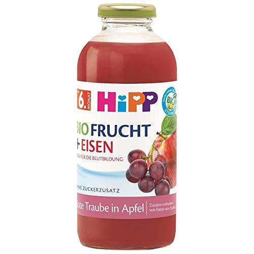 HiPP Bio-Fruchtsaft-Getränke +, Rote Traube in Apfel mit Eisen, 500 ml