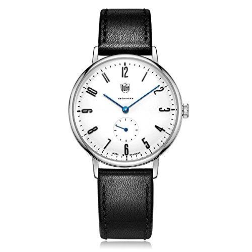 DuFa Unisex Analog Quarz Uhr mit Leder Armband DF-9001-03