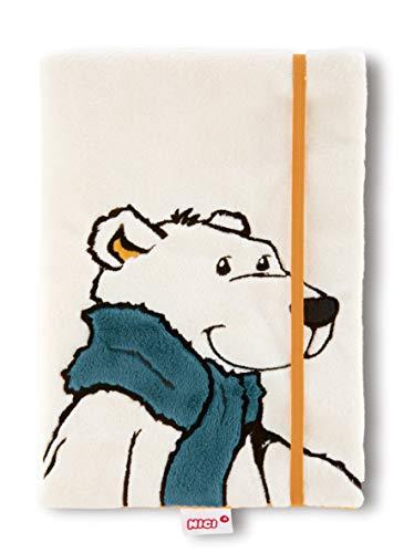 NICI 42054 Winter Blankbuch Eisbär Bignic mit abnehmbarem Plüscheinband, DIN A5, weiß