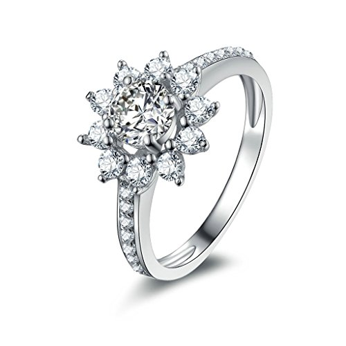 Anyeda Ringe Silber 925 Damen Ringe Blume Cz Silber Ringgröße 53 (16.9)