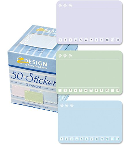 Avery Zweckform diepvriesetiketten 50 stuks. 56822 (stickers, papierstickers 38 x 58 mm in dispenser, beschrijfbaar, tot -20 °C, huishoudlabel, diepvriesetiket, inmaaketiket) sticker op rol
