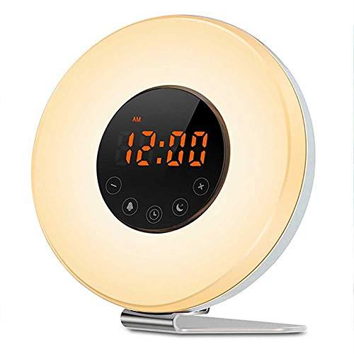LJD digitale klok 's nachts kinderen wake-up licht wekker zonsopgang zonsondergang analoog met Snooze FM radio verlichting en Touch Control kleur 7 kleuren LED digitale klok