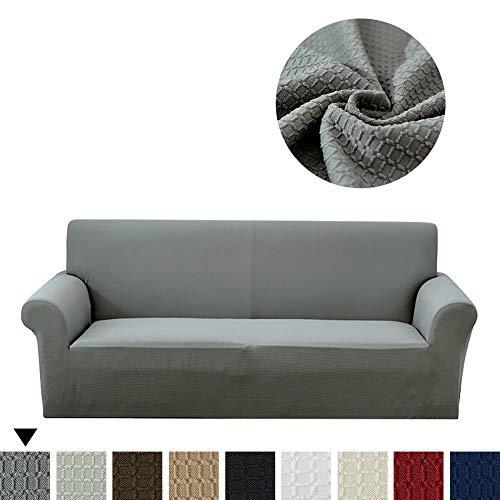 Lanqinglv Grau Elastisch Jacquard Sofaüberwurf Wasserabweisend Sofa Überwürfe 1/2/3/4 sitzer Sofabezug Einfarbig Couchbezug Sesselbezug rutschfest Abwaschbar