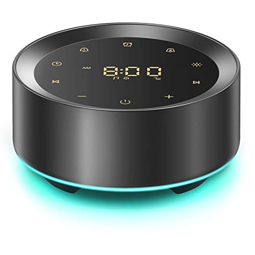Letsfit White Noise Machine with Alarm Clock, 20 High Fidelity Soothing Sounds, 7 Color Baby Night Lights, Full Touch Control, Sleep Sound Machine for Home and Office