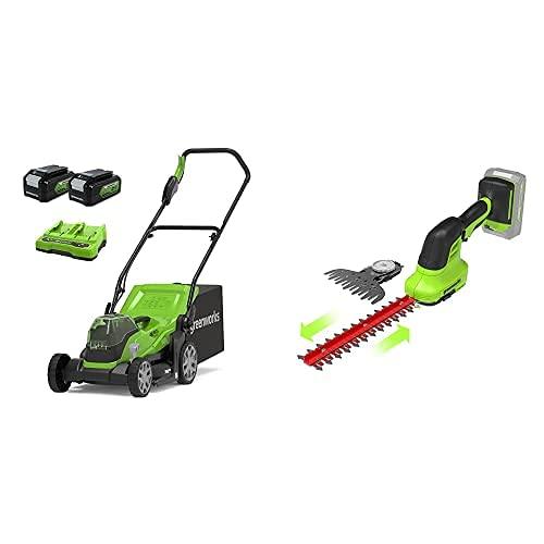Greenworks Tools Cortacésped 2512507UD, 48 V, 2 x batería 4 Ah + 2 en 1 Tijeras de Batería para arbustos y césped G24SHT,Li-Ion 24V 2400 SPM 8 mm Espesor y 20 cm Corte Adecuado para Cortasetos