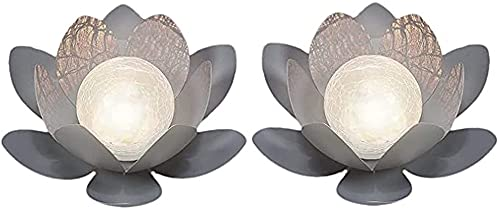 LIUPING LED Solar Outdoor Lamps Lotus Flowers Garden Lighting Water Lilies Design Lights (Color : Cold Light, Size : 2 PACK)