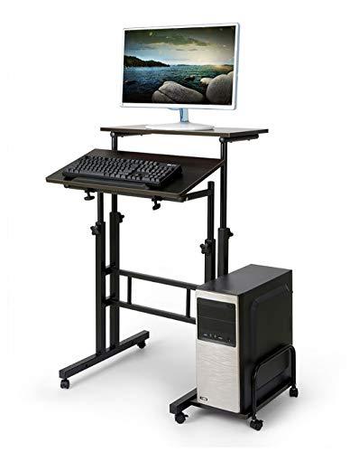 Hyner Höhenverstellbare Computertisch Computertänder Stand-up Schreibtisch Steh Bürotisch mit 4 Rollen mit Bremsen im Büro