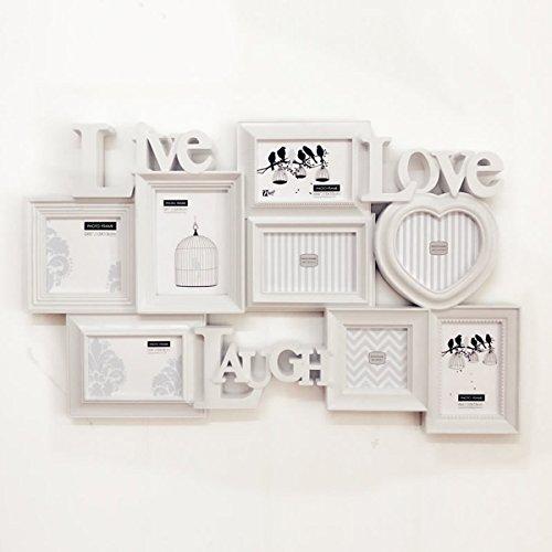 LYQZ Mur de Cadre Photo Mur européen Global 8 boîte Famille Creative Mur Cadre Enfants Chambre Mur Photo Blanc