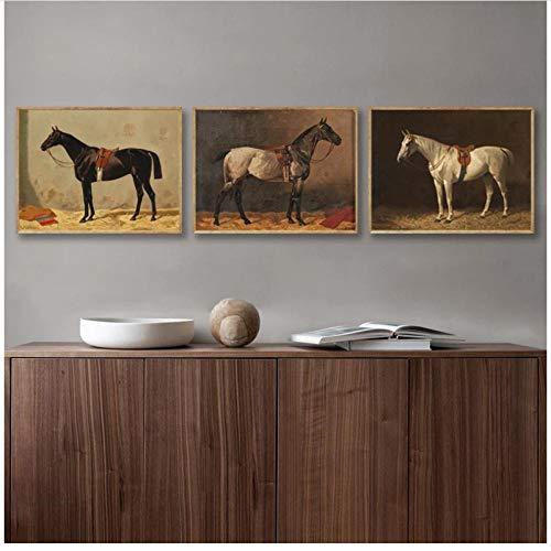 MULMF Vintage Horse Poster Antike Horse Farm Tiere Leinwand Malerei Drucke Pferd Wandkunst Bild für Wohnzimmer Dekor 30x40cmx3 ungerahmt