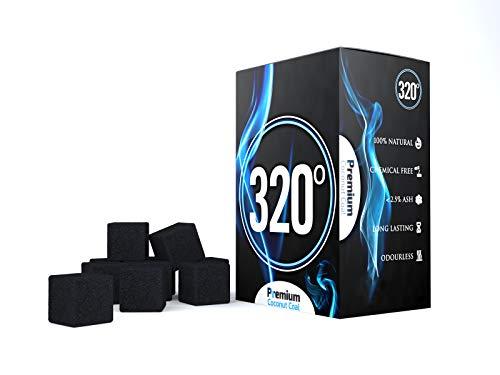 320° - Carbón de coco (25mm Cubo) natural para cachimba sh