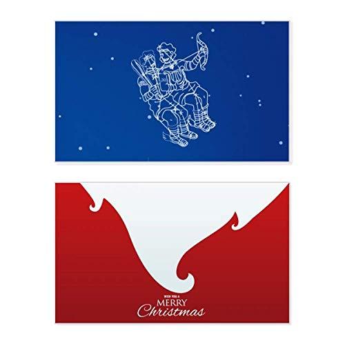 Star Universe Zwillinge Sternbild Muster Urlaub Merry Christmas Karte Xmas Vintage Nachricht