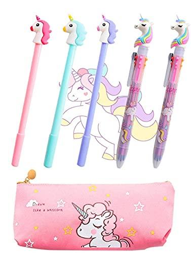 Juego de 5 bolígrafos de unicornio JeVenis con diseño de unicornio