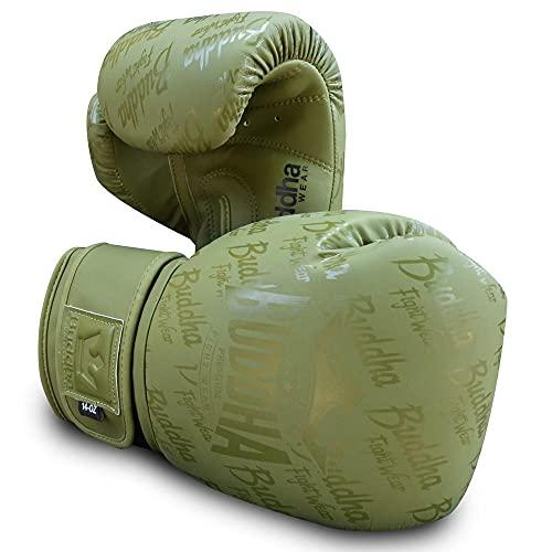 Buddha Fight Wear. Guantes de Entrenamiento y Combate, Special Edition, Fabricados a Mano,Boxeo, Muay Thai, Kick Boxing y MMA Modelo Top Premium Verde Mate 16 Onzas