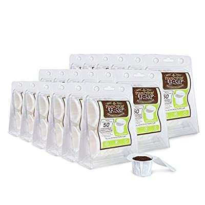 Perfect Pod EZ-Cup Paper Coffee Filters with Patented Lid for Single-Serve Coffee Brewers and Coffee Pods, Compatible with Keurig, 18-Pack (900 Filters)