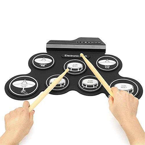 Schlagzeug Elektronische E-Drum Roll Up Drum Praxis PadDrum Kit mit Kopfhörer Lautsprecher Drum Pedale Drum Sticks Family Entertainment (Farbe: Schwarz) FDWFN (Color : Black Icon Version)