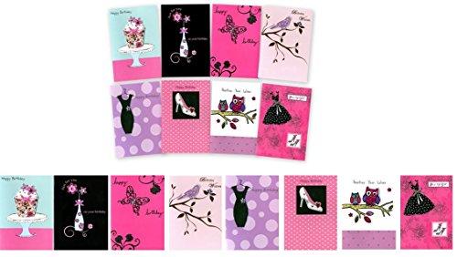 SECOND NATURE verjaardagskaarten, met enveloppen, vrouwelijk
