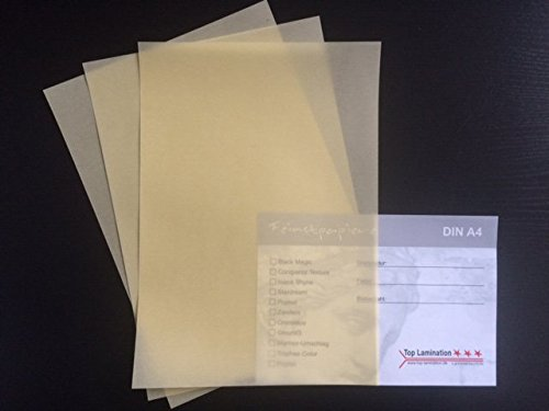 50 Blatt DIN A4 Transparentpapier creme/gelb 100g/m² exzellente Durchsicht, sehr gute Qualität, mögliche Verwendung: Einladungen, Visitenkarten, Einlegeblätter für Alben, Fotoalben, Fensterbilder, Bastelarbeiten