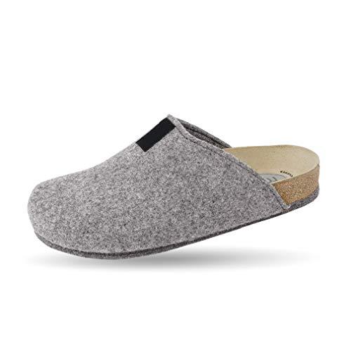 Weeger Bio-Hausschuh-Pantoffel Tweed grau Gr. 41