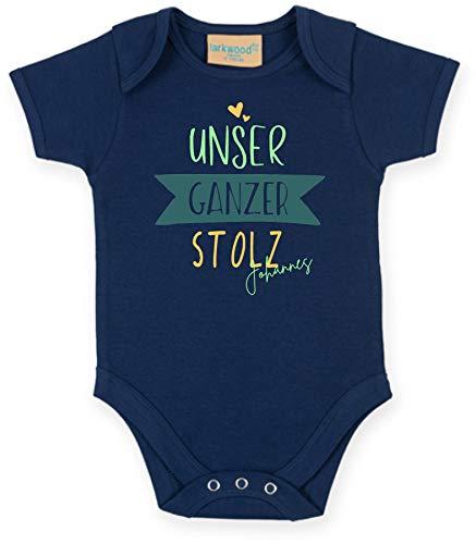 Body mit Namen | Motiv Unser ganzer Stolz | Personalisieren & Bedrucken | für Mädchen & Jungen Kurzarm Baby-Strampler inkl. Namensdruck