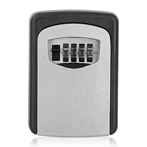 Ruspela Caja de almacenamiento de 4 dígitos para exteriores con cerradura de combinación para montaje en pared, color plateado
