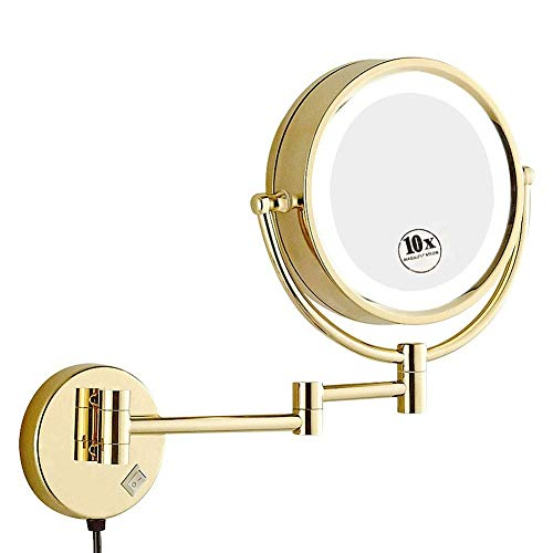 Mirrorks 8,5-Zoll-Schminkspiegel Rasierspiegel, Wandmontage mit 1x / 10-facher Vergrößerung, runder, doppelseitiger Kosmetikspiegel, ausziehbarer, beleuchteter LED-Wandspiegel
