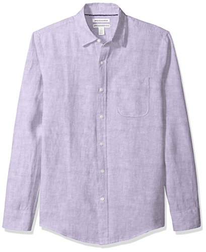 Amazon Essentials Slim-fit Long-Sleeve Linen button-down-shirts, Violett (Lavender), Large