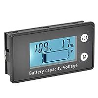電圧計DC 10-100Vポータブル電圧計LCDバッテリー電圧機器産業用ツール((10-100V) white + alarm + temperature)