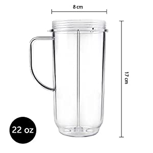 QT Tall 22oz Replacement Part Cup Mug with handle compatible with 250w Magic Bullet On-The-Go Mug |