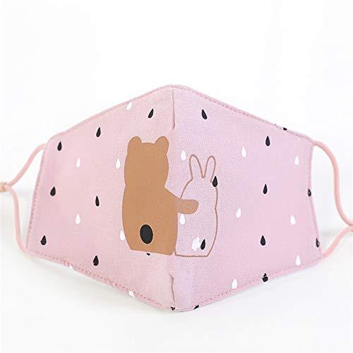 De nieuwe lente en de zomer kinderen maskers leuke cartoon af te drukken vouwen oor riemen verstelbare katoen student stereo maskers (5 stuks) Buitenshuis (Color : Pink, Size : 19 * 10cm)